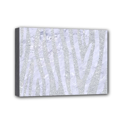 Skin4 White Marble & Silver Glitter (r) Mini Canvas 7  X 5  by trendistuff