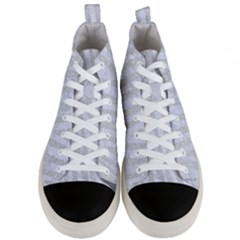 Skin4 White Marble & Silver Glitter (r) Men s Mid Top Canvas Sneakers