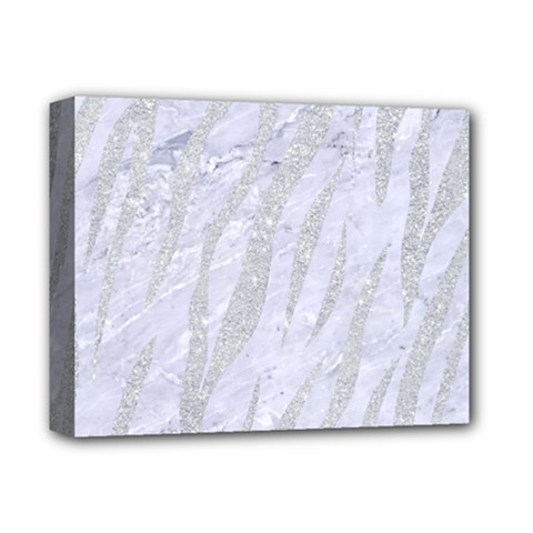 Skin3 White Marble & Silver Glitter (r) Deluxe Canvas 14  X 11  by trendistuff
