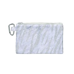 Skin3 White Marble & Silver Glitter (r) Canvas Cosmetic Bag (small) by trendistuff