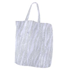 Skin3 White Marble & Silver Glitter Giant Grocery Zipper Tote by trendistuff