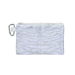 Skin2 White Marble & Silver Glitter (r) Canvas Cosmetic Bag (small) by trendistuff