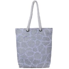Skin1 White Marble & Silver Glitter (r) Full Print Rope Handle Tote (small) by trendistuff
