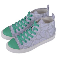 Skin1 White Marble & Silver Glitter Women s Mid Top Canvas Sneakers by trendistuff