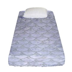 Scales3 White Marble & Silver Glitter (r) Fitted Sheet (single Size) by trendistuff