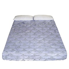 Scales3 White Marble & Silver Glitter (r) Fitted Sheet (california King Size) by trendistuff
