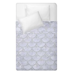 Scales3 White Marble & Silver Glitter (r) Duvet Cover Double Side (single Size) by trendistuff
