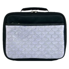 Scales3 White Marble & Silver Glitter (r) Lunch Bag by trendistuff