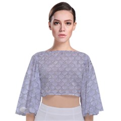 Scales3 White Marble & Silver Glitter (r) Tie Back Butterfly Sleeve Chiffon Top