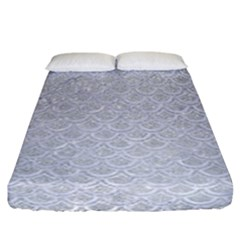 Scales2 White Marble & Silver Glitter Fitted Sheet (california King Size) by trendistuff