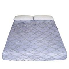 Scales1 White Marble & Silver Glitter (r) Fitted Sheet (california King Size) by trendistuff