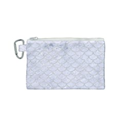 Scales1 White Marble & Silver Glitter (r) Canvas Cosmetic Bag (small) by trendistuff