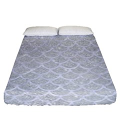 Scales1 White Marble & Silver Glitter Fitted Sheet (queen Size) by trendistuff