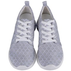 Scales1 White Marble & Silver Glitter Men s Lightweight Sports Shoes