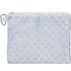 Scales1 White Marble & Silver Glitter Canvas Cosmetic Bag (xxxl) by trendistuff