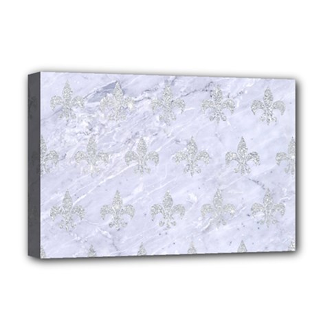 Royal1 White Marble & Silver Glitter Deluxe Canvas 18  X 12   by trendistuff