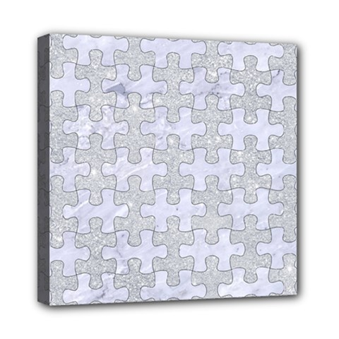 Puzzle1 White Marble & Silver Glitter Multi Function Bag	 by trendistuff
