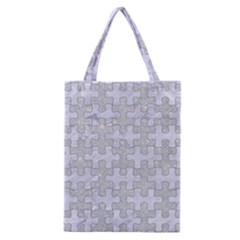 Puzzle1 White Marble & Silver Glitter Classic Tote Bag by trendistuff