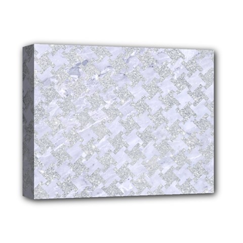 Houndstooth2 White Marble & Silver Glitter Deluxe Canvas 14  X 11  by trendistuff