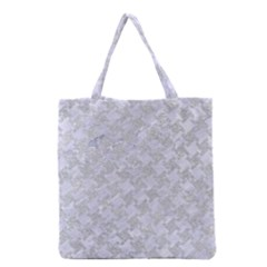 Houndstooth2 White Marble & Silver Glitter Grocery Tote Bag by trendistuff