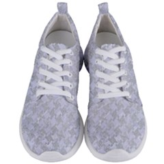 Houndstooth2 White Marble & Silver Glitter Men s Lightweight Sports Shoes
