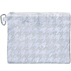Houndstooth1 White Marble & Silver Glitter Canvas Cosmetic Bag (xxxl) by trendistuff