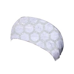 Hexagon2 White Marble & Silver Glitter (r) Yoga Headband