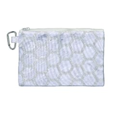 Hexagon2 White Marble & Silver Glitter (r) Canvas Cosmetic Bag (large) by trendistuff