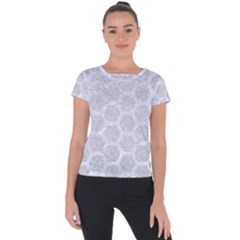 Hexagon2 White Marble & Silver Glitter Short Sleeve Sports Top