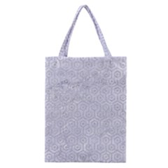 Hexagon1 White Marble & Silver Glitter (r) Classic Tote Bag by trendistuff