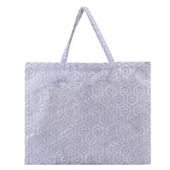 Hexagon1 White Marble & Silver Glitter (r) Zipper Large Tote Bag by trendistuff