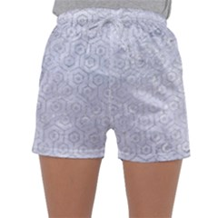 Hexagon1 White Marble & Silver Glitter (r) Sleepwear Shorts