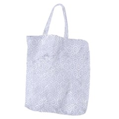 Hexagon1 White Marble & Silver Glitter (r) Giant Grocery Zipper Tote by trendistuff
