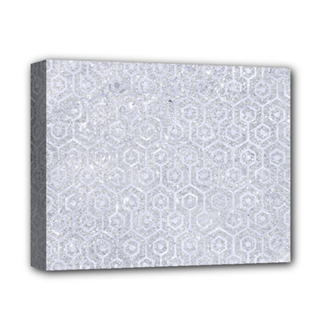 Hexagon1 White Marble & Silver Glitter Deluxe Canvas 14  X 11  by trendistuff