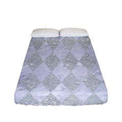 Diamond1 White Marble & Silver Glitter Fitted Sheet (full/ Double Size) by trendistuff