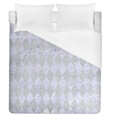 Diamond1 White Marble & Silver Glitter Duvet Cover (queen Size) by trendistuff