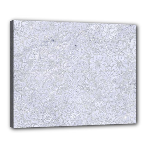Damask2 White Marble & Silver Glitter Canvas 20  X 16  by trendistuff