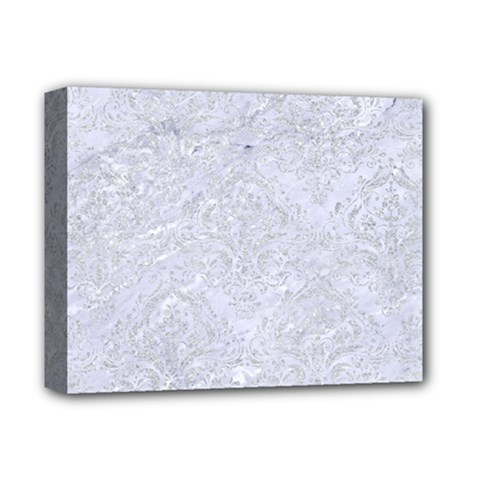 Damask1 White Marble & Silver Glitter (r) Deluxe Canvas 14  X 11  by trendistuff