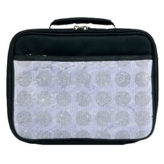 Circles1 White Marble & Silver Glitter (r) Lunch Bag by trendistuff