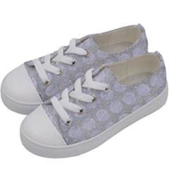 Circles1 White Marble & Silver Glitter Kids  Low Top Canvas Sneakers by trendistuff