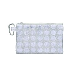 Circles1 White Marble & Silver Glitter Canvas Cosmetic Bag (small) by trendistuff