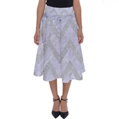 Chevron9 White Marble & Silver Glitter (r) Perfect Length Midi Skirt