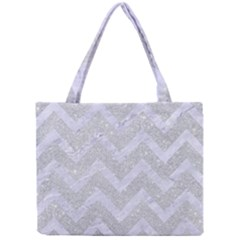 Chevron9 White Marble & Silver Glitter Mini Tote Bag by trendistuff
