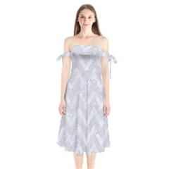 Chevron9 White Marble & Silver Glitter Shoulder Tie Bardot Midi Dress