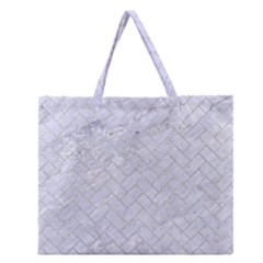 Brick2 White Marble & Silver Glitter (r) Zipper Large Tote Bag by trendistuff