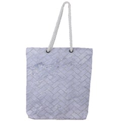 Brick2 White Marble & Silver Glitter (r) Full Print Rope Handle Tote (large)