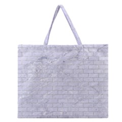Brick1 White Marble & Silver Glitter (r) Zipper Large Tote Bag by trendistuff