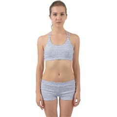 Brick1 White Marble & Silver Glitter Back Web Sports Bra Set by trendistuff