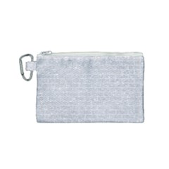 Brick1 White Marble & Silver Glitter Canvas Cosmetic Bag (small) by trendistuff