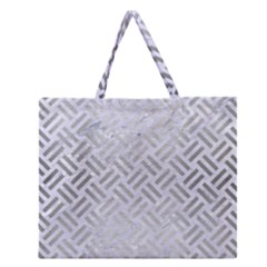 Woven2 White Marble & Silver Brushed Metal (r) Zipper Large Tote Bag by trendistuff